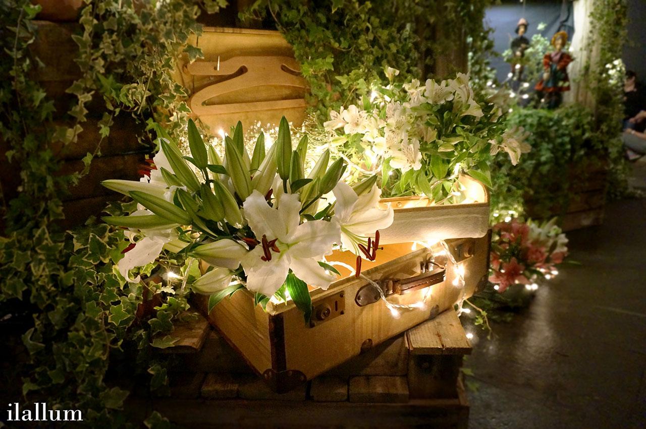 flores iluminadas dentro de maletas decorativas