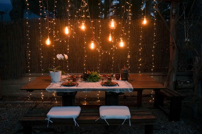 Proyecto de iluminación de una cena rústica